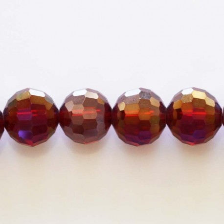 BeauMonde Jewelry - Glass beads faceted red SIAM AB 12 mm
