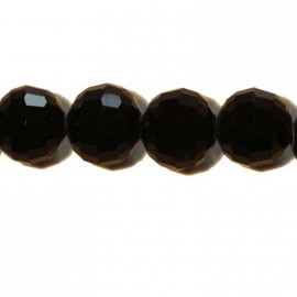 Faceted glass beads black 12 mm