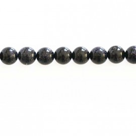 Blue gold stone 6 mm round bead