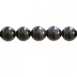Blue gold stone 10 mm round bead