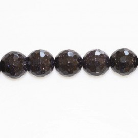 Blue gold stone 10 mm bead round faceted