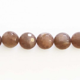 Sun stone 12 mm round faceted bead