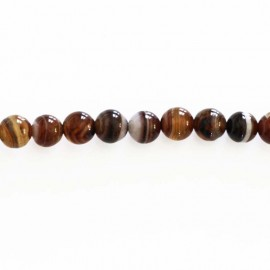 Agate 6 mm round bead brown veined