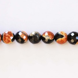 Agate beads 10 mm round faceted black/orange