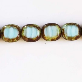 Perle 17x16 mm de bohême rectangle turquoise