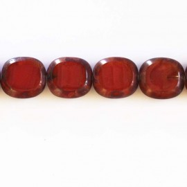 Bohemian rectangle red bead 17x16 mm