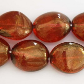 BeauMonde Bijoux - Perle galet 25x20mm rouge
