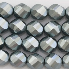 BeauMonde Jewelry - Pearl lacquered 12 mm round large faceted blue-grey