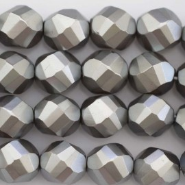 BeauMonde Jewelry - Pearl lacquered 12 mm round large grey faceted