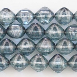 BeauMonde Jewelry - Pearl glass 12 mm square diagonal blue