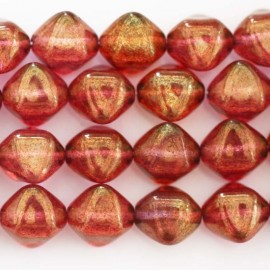 Pearl glass 12 mm square diagonal red