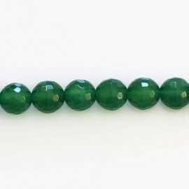 Agate 8 mm emerald green bead round faceted