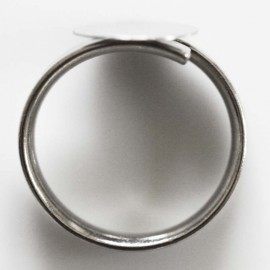 Adjustable ring tray 12 mm silver metal