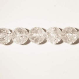 Crystal crackled 12 mm round bead