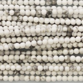 Howlite white 2 mm round bead