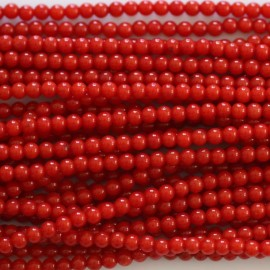 BeauMonde Jewelry - Bamboo of sea red round bead 3 mm