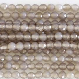 BeauMonde Jewelry - Agate grey 4 mm beads round faceted