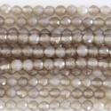 Agate grey 4 mm beads round faceted