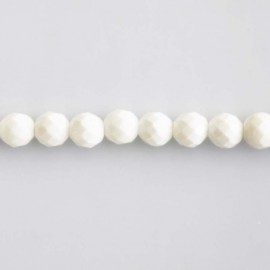 BeauMonde Jewelry - Shell pearl white round faceted 6 mm