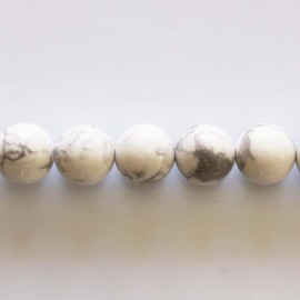 Howlite 10 mm perle ronde blanche