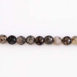 BeauMonde Jewelry - Agate 6 mm faceted bead black/transparent