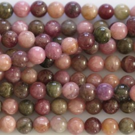 Tourmaline 4 mm perle ronde tons clairs