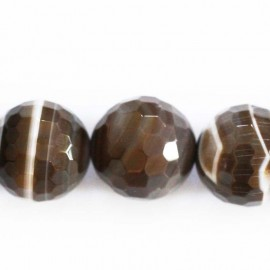 Agate 16 mm perle ronde facetée marron