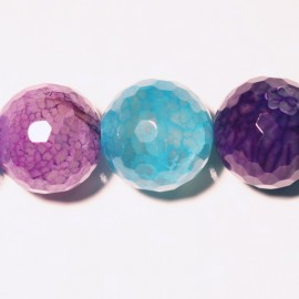 Agate flower faceted pearl 16 mm