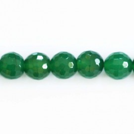 Agate 10 mm emerald green faceted round bead