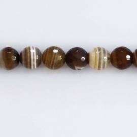BeauMonde Jewelry - Agate 8 mm round brown faceted bead