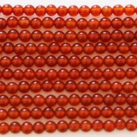 Agate red round bead 2 mm