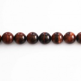 Red tiger eye 6 mm round pearl