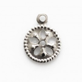 Pendant medal 7 mm 1 ring silver metal