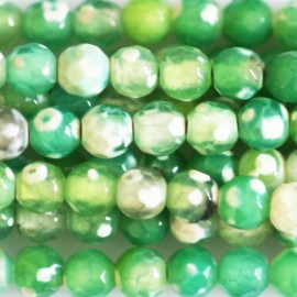 BeauMonde Jewelry - Agate 4 mm round pearl faceted mint green