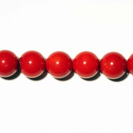 Bambou perle ronde rouge 8 mm