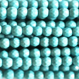 Reconstituted turquoise bead 3 mm faceted round