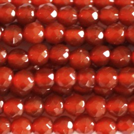 BeauMonde Bijoux - Agate rouge (orange) perle ronde facetée 3 mm