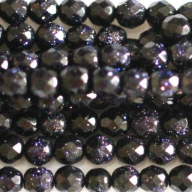 Blue gold stone faceted round bead 3 mm