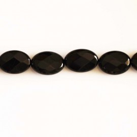 Black agate 10 x 14 mm oval faceted