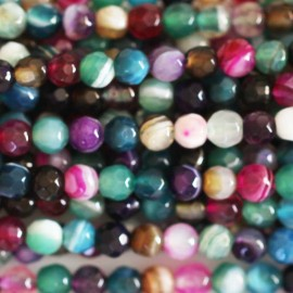 Agate multi veined faceted 4 mm