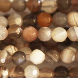 Agate Botswana 4 mm bead faceted round