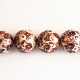 Wooden bead 20 mm round pattern red