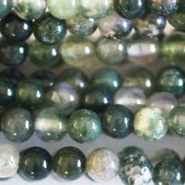 Agate mousse 4 mm round bead Africa