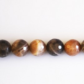 Sun stone grey/beige 10 mm round bead faceted quality A 2 colors