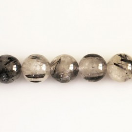 Rutile quartz tourmaline 10 mm round bead