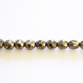 Pyrite bead 6 mm round faceted