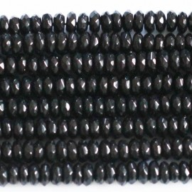 Black agate 3 x 6 mm washer faceted