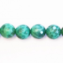 Agate peafowl 12 mm round faceted bead