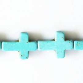 Howlite turquoise 18X25 mm croix