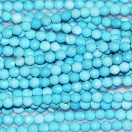Howlite turquoise bead round faceted 2 mm